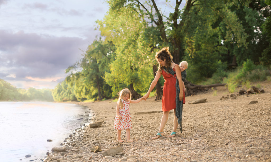 family portrait of mother and two children at a beach in St Paul, MN
